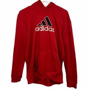 Adidas Red Graphic Logo Pullover Hoodie